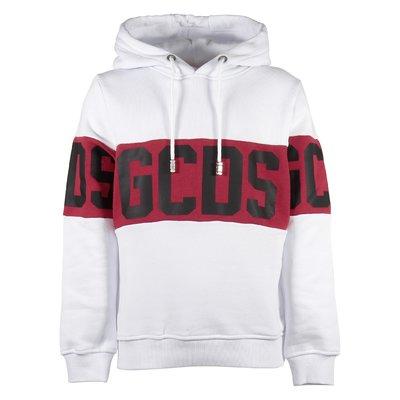 White logo detail cotton sweatshirt hoodie