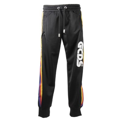 Black logo detail multicolor side stripes pants