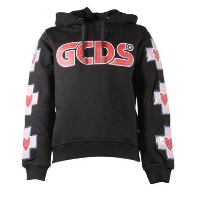 Black logo detail cotton sweatshirt hoodie
