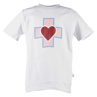 T-shirt bianca in jersey di cotone con stampa e dettaglio logo