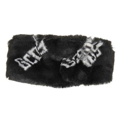 Scaldacollo nero in pelliccia ecologica con logo