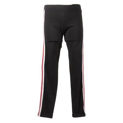 Black logo detail and stripes elastic cotton leggings