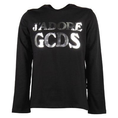 T-shirt nera in jersey di cotone con logo