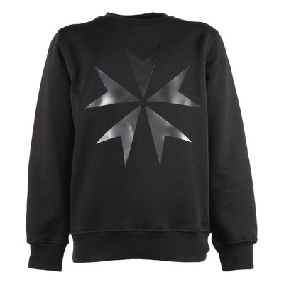 Black military cross rubber print cotton sweatshirt