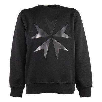 Black military cross rubber print cotton sweatshirt