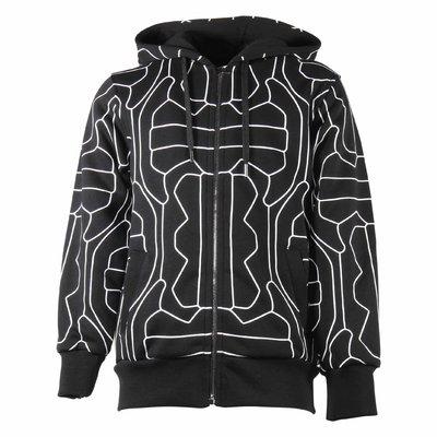 Black printed cotton sweatshirt hoodie