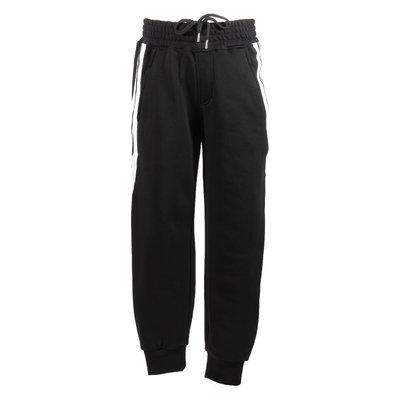 Pantaloni neri in felpa di cotone con bande a contrasto