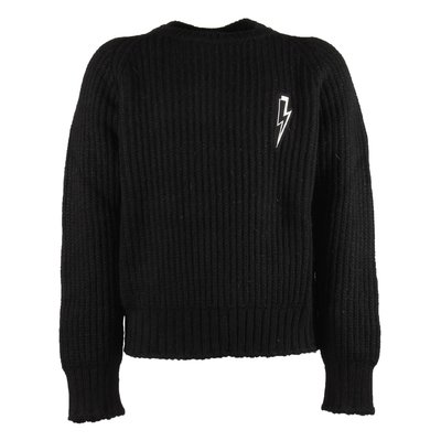 Black thunderbolt knitted jumper
