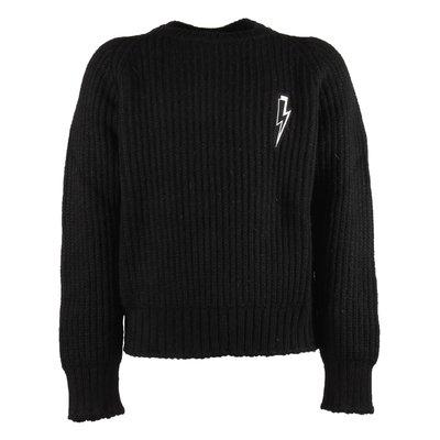 Pullover nero in maglia con saetta