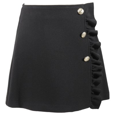 Black decorative buttons and ruffle detail skirt