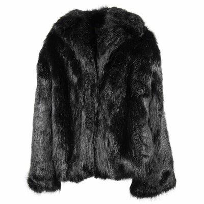 Giacca nera in eco pelliccia