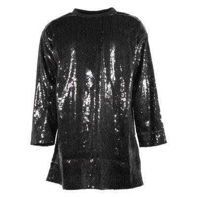 Black logo dress with sequines