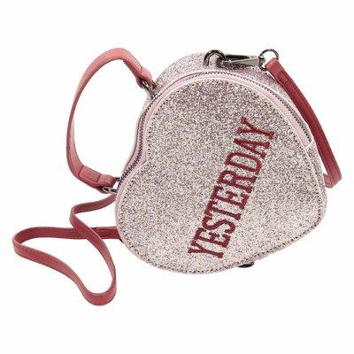 Pink glitter heart shape faux leather purse