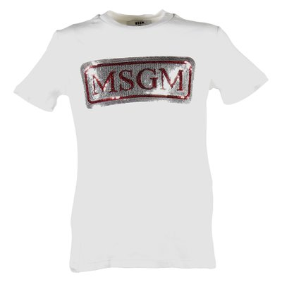 White sequined logo cotton jersey t-shirt