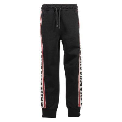 Black intarsia logo cotton sweatpants