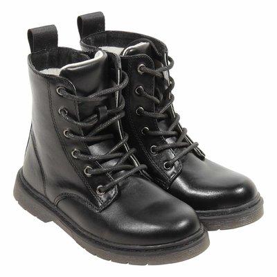 Black leather interior combat boot