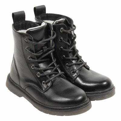 Black leather interior combat boot