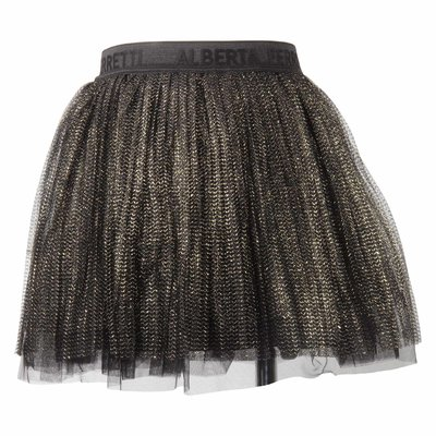 Pleated tulle skirt with metallic weave