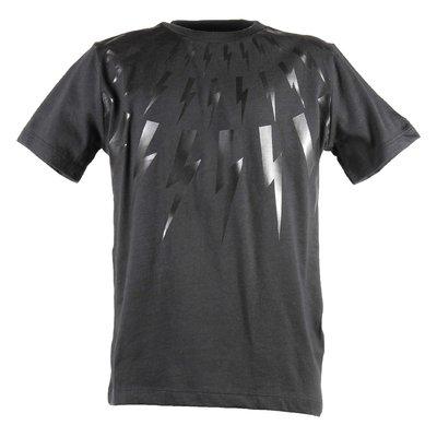 T-shirt nera in jersey di cotone con stampa saette