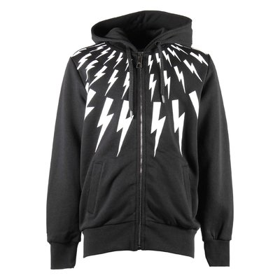 Black zip-up cotton sweatshirt hoodie