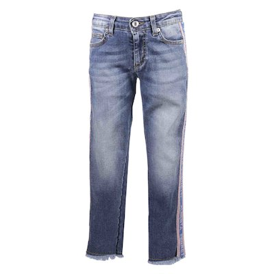 Jeans blu in cotone denim stretch con logo