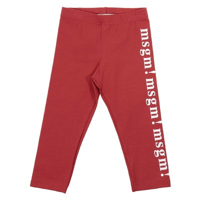 Red elastic cotton leggings