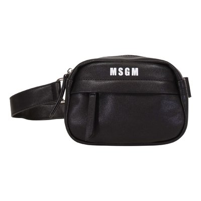 Black logo detail faux leather bag