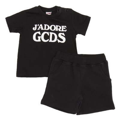 Black logo detail cotton jersey set