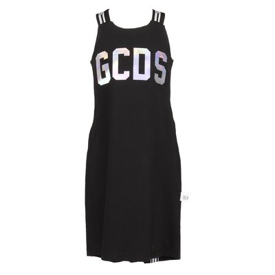 Black logo detail cotton jersey dress