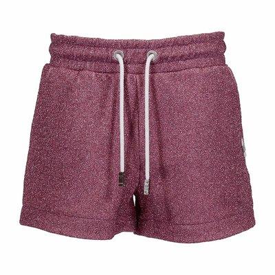 Shorts rosa in misto cotone con lurex e logo