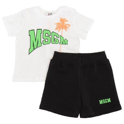 Cotton white t-shirt & black shorts set