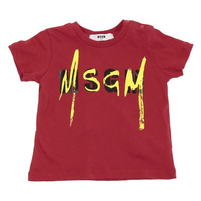 MSGM red logo cotton jersey t-shirt