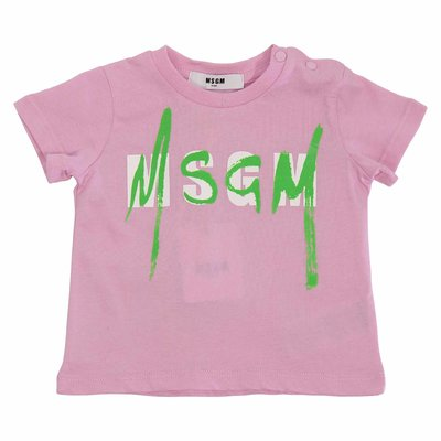 Pink logo cotton jersey t-shirt