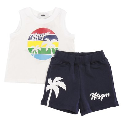 MSGM white & blue cotton set with jersey tank top & sweatshirt shorts