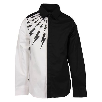 Black and white cotton poplin shirt