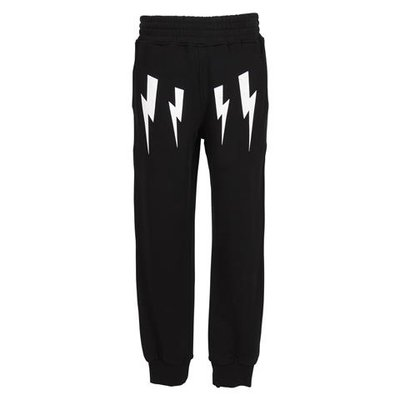 Black Iconic thunderbolt cotton sweatpants