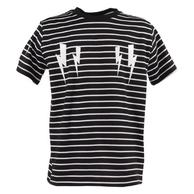 Striped iconic thunderbolt print cotton jersey t-shirt