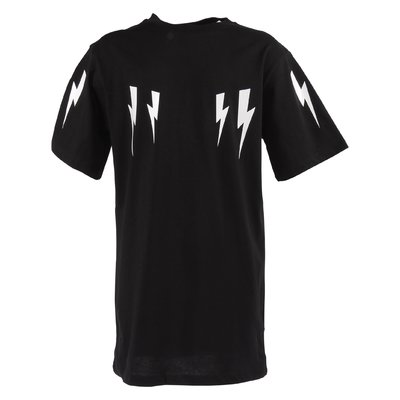 T-shirt nera in jersey di cotone con stampa Iconiche saette