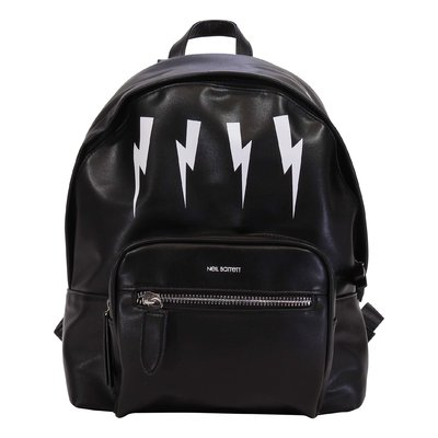 Neil Barrett black Iconic thunderbolt details faux leather backpack