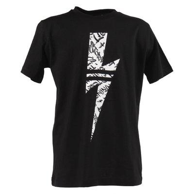 T-shirt nera in jersey di cotone con Iconica Saetta