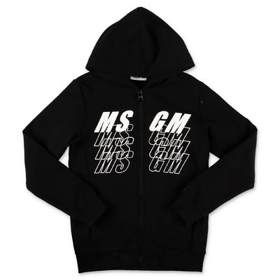 MSGM logo black cotton sweatshirt hoodie