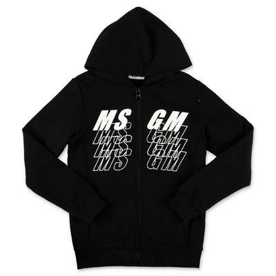 MSGM felpa nera in cotone con logo e cappuccio