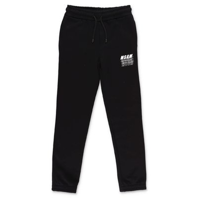 MSGM black logo detail cotton sweatpants
