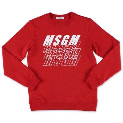 MSGM logo red cotton sweatshirt