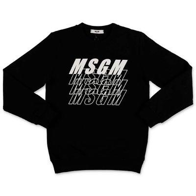 MSGM felpa nera in cotone con multi logo