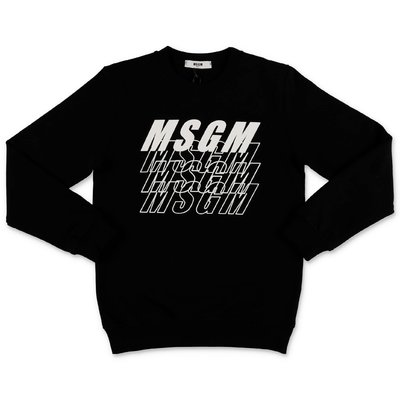 MSGM black multi logo cotton sweatshirt