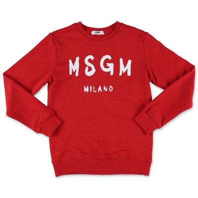 MSGM felpa rossa in cotone con logo