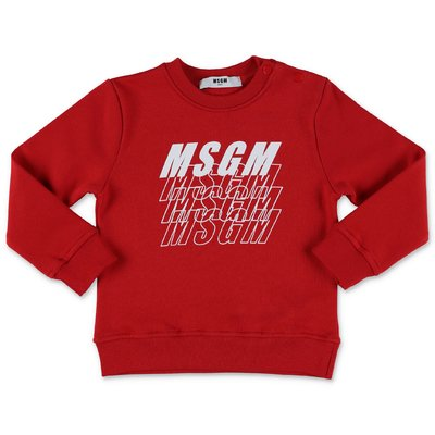 MSGM logo red cotton sweatshirt