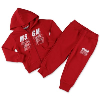 MSGM red cotton sweatshirt and sweatpants tracksuit set