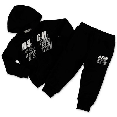 MSGM black cotton sweatshirt and sweatpants tracksuit set